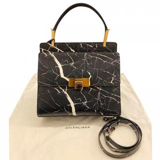 Balenciaga Black Marble Le Dix Top Handle Bag