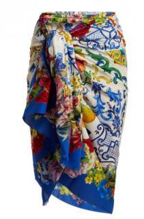 Dolce & Gabbana Blue Sicily Print Silk Wrap/Scarf