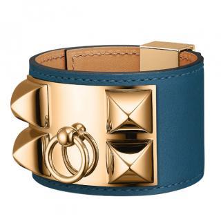 Hermes Deep Blue Swift Leather Collier de Chien Bracelet GHW