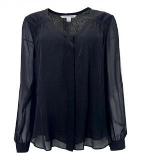 DVF Black Sheer Silk Blouse