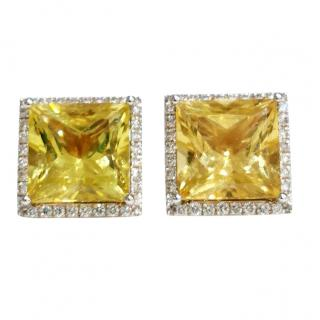 William & Son Helidor & Diamond Square Earrings
