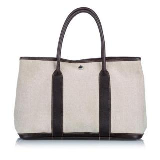 Hermes Toile Canvas & Leather Garden Party PM