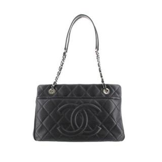 Chanel Black Caviar Leather CC Timeless Soft Shopping Tote Bag