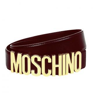 Moschino Brown Glossy Leather Logo Belt