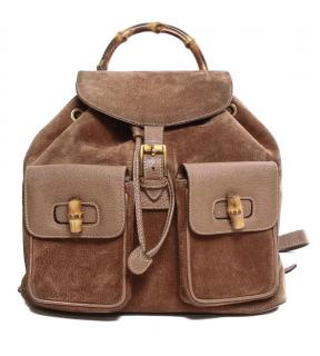 Gucci Brown Suede Vintage Bamboo Backpack