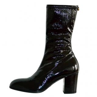 Gucci Black Patent Leather Stretch Ankle Boots