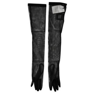 Gucci Black Sheer Runway Long Gloves