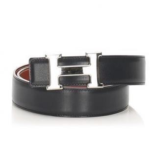 Hermes black leather reversible belt with Palladium H Buckle - Size 75