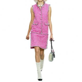 Chanel Pink & Silver Lesage Tweed Runway Sleeveless Dress