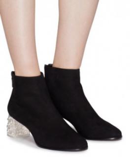 Sophia Webster Black Suede Crystal Block Heel Ankle Boots