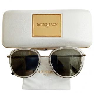 Boucheron Silver Tone Aviator Sunglasses