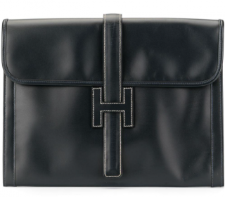 Hermes Black Vintage Glossy Box Leather Jige Clutch GM