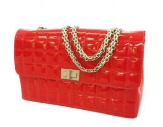 Chanel Red Patent Leather Reissue Chocolate Bar Flap Bag