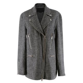 Alexander Wang Grey Wool Blend Biker Style Long Jacket