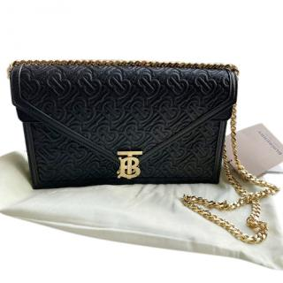 Burberry Black TB Monogram Embossed Envelope Clutch on Chain
