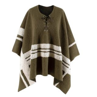 Maje Green Wool Blend Shearling Details Knit Poncho