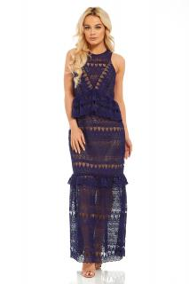 Self Portrait navy full teardrop guipure lace maxi dress