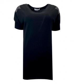 Allude Black Crystal Embellished Cashmere Blend Top
