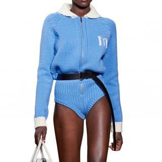 Miu Miu Runway Blue Wool Bodysuit