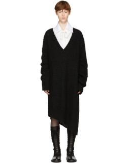 Ann Demeulemeester Black Mohair Knit Dress