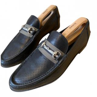 Gucci Perforated Black Leather Horsebit Loafers