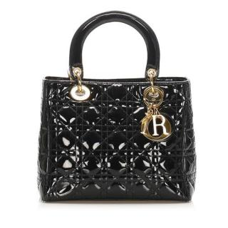 Dior Black Patent Leather Lady Dior Bag