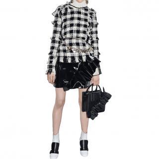 MSGM Black & White Tweed Fringed Embellished Top