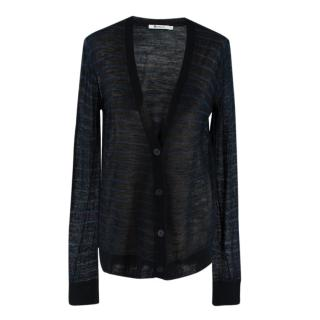 T Alexander Wang Black & Blue Wool Blend Striped Knit Cardigan