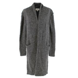 Current Elliott Grey Alpaca Blend Distressed Knit Long Cardigan