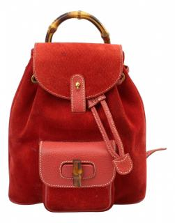 Gucci Red Suede Small Bamboo Backpack