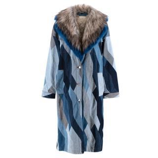 Dries Van Noten Runway Blue Denim Patchwork Faux Fur Collar Coat