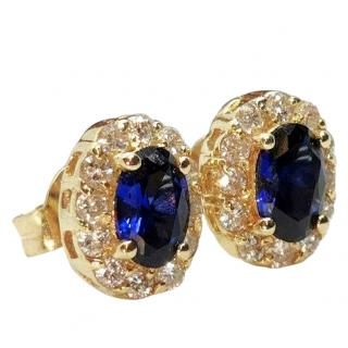Bespoke vibrant sapphire and diamond earrings