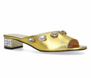 Gucci Metallic Gold Leather Lyric Mules
