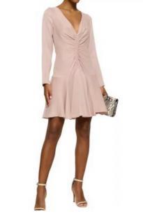 Zimmermann Blush Satin Open Back Ruched Mini Dress