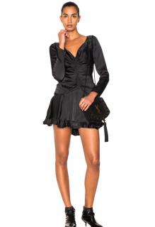 Zimmermann Black Satin Open Back Ruched Mini Dress