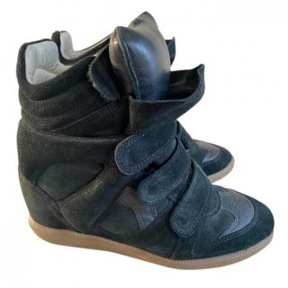 Isabel Marant Black Suede Wedge Beckett Sneakers