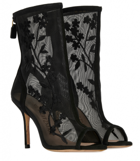 Stuart Weitzman Black Mesh & Leather Gladiator Boots