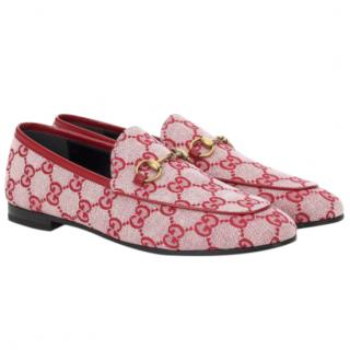 Gucci red canvas Jordaan GG loafers