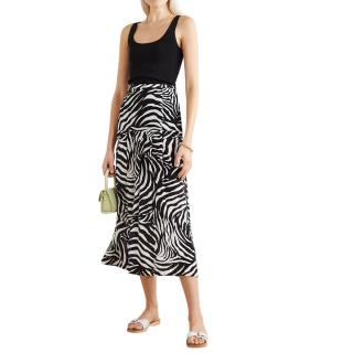 Rixo Nancy pleated zebra-print silk crepe de chine midi skirt