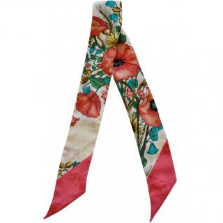 Gucci floral print silk twill neck scarf