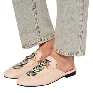 Gucci Pale Pink Princetown mystic cat slippers