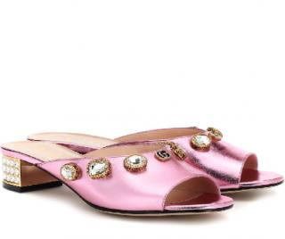 Gucci Metallic Pink Leather Lyric Mules