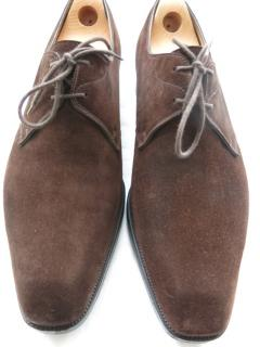John Lobb Brown Suede Lace-Up Oxfords