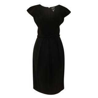 Giorgio Armani Black Wool Pleated Dress
