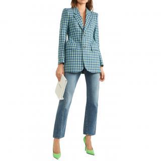 Balenciaga Blue Check Hourglass Blazer