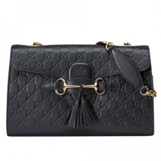 Gucci Black Emily Guccissima Leather Chain Shoulder Bag