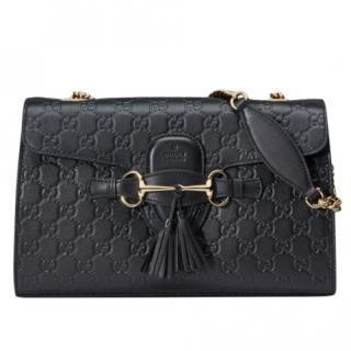 Gucci Black Emily Guccissima Leather Chain Shoulder Bag