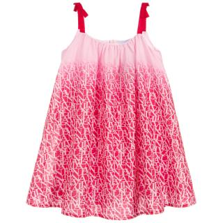Lanvin Girls 4Y Pink Ombre Cotton Logo Dress