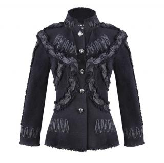 Chanel Black Ribbon Lace Military Style Jacket