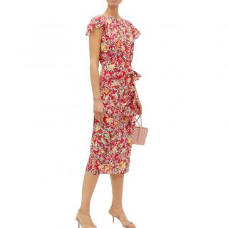 Saloni Floral Silk Crepe De Chine Heather Dress